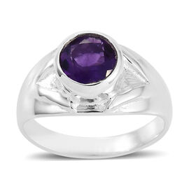 Artisan Crafted Amethyst Solitaire Ring in Sterling Silver 6.15 Grams 1.88 Ct