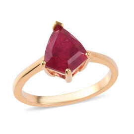 African Ruby (FF) Solitaire Ring in 14K Gold Overlay Sterling Silver 2.91 Ct.