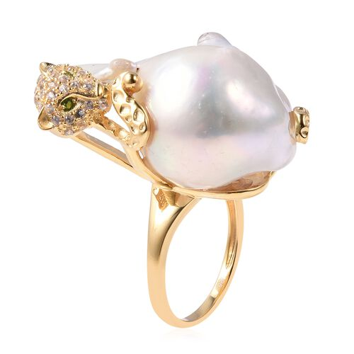 Freshwater Baroque Pearl, Natural White Cambodian Zircon and Russian Diopside Cat Ring in Yellow Gold Overlay Sterling Silver