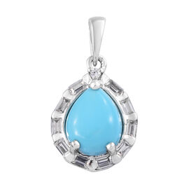 AA Arizona Sleeping Beauty Turquoise (Pear 10x8 mm), Natural Cambodian Zircon Pendant in Platinum Ov