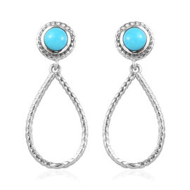 1 Carat Arizona Sleeping Beauty Turquoise Drop Earrings in Platinum Plated Silver