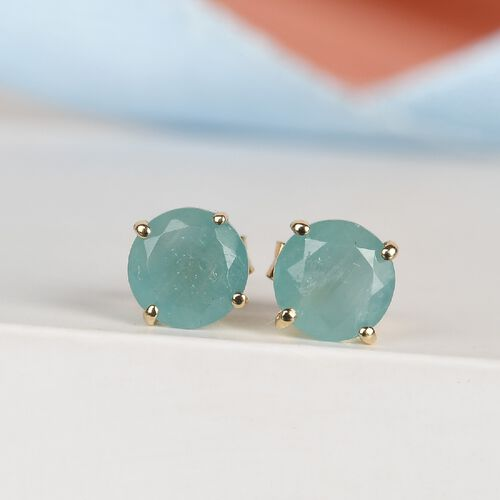 9K Yellow Gold Grandidierite Solitaire Stud Earrings (with Push Back) 1.04 Ct.