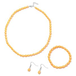 3 Piece Set- Freshwater Golden Pearl Necklace (Size 18 with 1 inch Extender) Bracelet (Stretchable)
