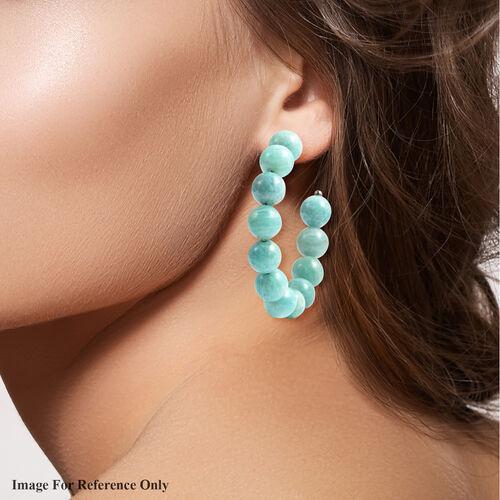Amazonite Beaded Hoop Earrings (with Push Back) in Stainless Steel  70.00 Ct.