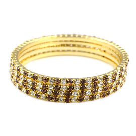 4 Piece Set Light Brown Austrian Crystal Stacker Bangle in Gold Tone 7 Inch