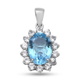 Sky Blue Topaz and Natural Cambodian Zircon Floral Halo Pendant in Rhodium Overlay Sterling Silver 9