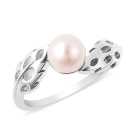 RACHEL GALLEY - Freshwater White Pearl Latticework Feather Ring in Rhodium Overlay Sterling Silver