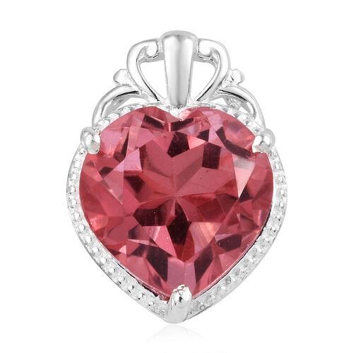 6.25 Ct Coral Colour Quartz Solitaire Heart Pendant in Sterling Silver