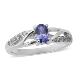 Super Auction - Tanzanite (Ovl 6x4mm), Natural Cambodian Zircon Ring in Rhodium Overlay Sterling Sil