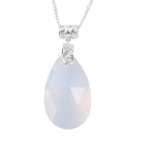 J Francis - Crystal from Swarovski Drop Opal Crystal (Pear 38x38mm) Pendant with Chain (Size 18) in Platinum Overlay Sterling Silver