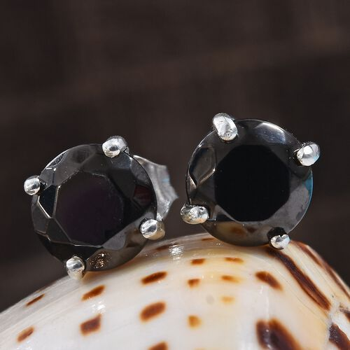 Elite Shungite (Rnd) Stud Earrings (with Push Back) in Platinum Overlay Sterling Silver 1.500 Ct.
