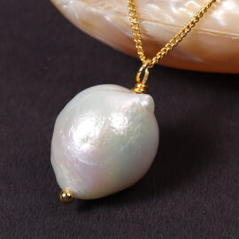 White Baroque Pearl Pendant with Chain (Size 18) in Yellow Gold Overlay Sterling Silver
