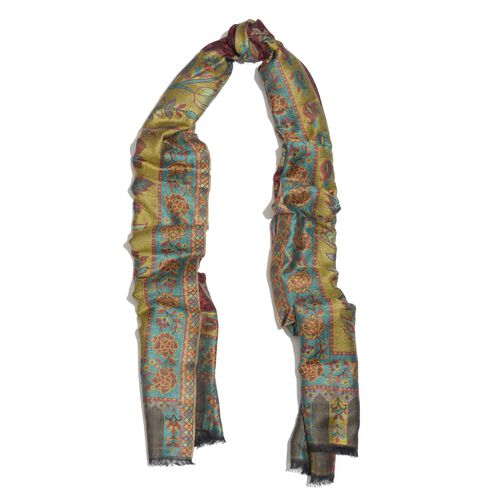 100% Modal Red, Green and Multi Colour Floral Pattern Jacquard Scarf (Size 190x70 Cm)