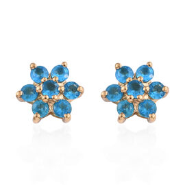 Malgache Neon Apatite (Rnd) Floral Earrings (with Push Back) in 14K Gold Overlay Sterling Silver 1.0