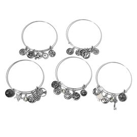 Set of 5- White Austrian Crystal (Rnd) Bangle with Multi Charms in Silver Plated