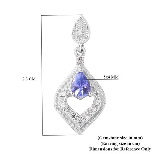 Tanzanite and Natural Cambodian Zircon Dangle Earrings (with Push Back) in Platinum Overlay Sterling Silver 1.00 Ct.