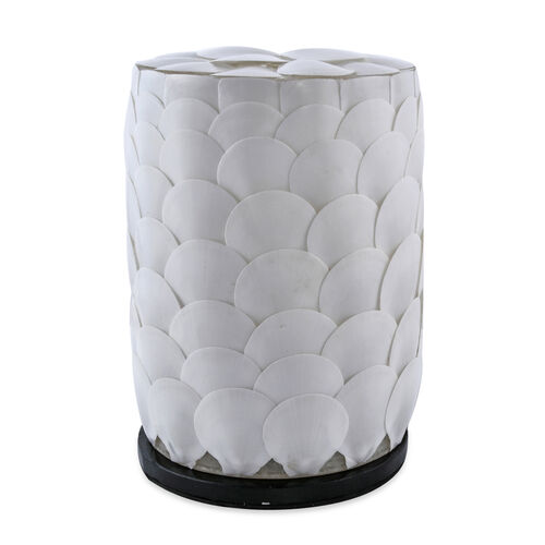 Bali Collection - Handcrafted Seashell ES Battery Table Lamp with Cylindrical Shape Armadillo Motif