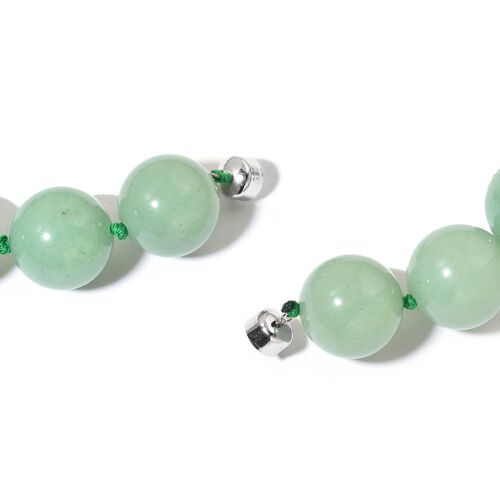 Green Aventurine Necklace (Size 20) with Magnetic Clasp in Rhodium Plated Sterling Silver 1218.000 Ct.