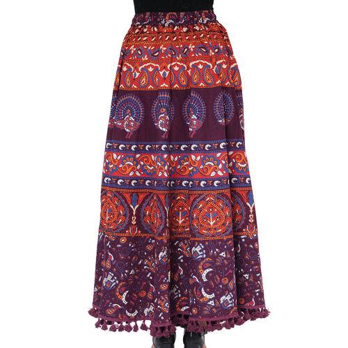 100% Cotton Mandala Print Boho Long Skirt with Tassels (Size 101.5x94cm) - Blue & Orange