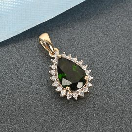 9K Yellow Gold AA Russian Diopside and Natural Cambodian Zircon Pendant 2.23 Ct.