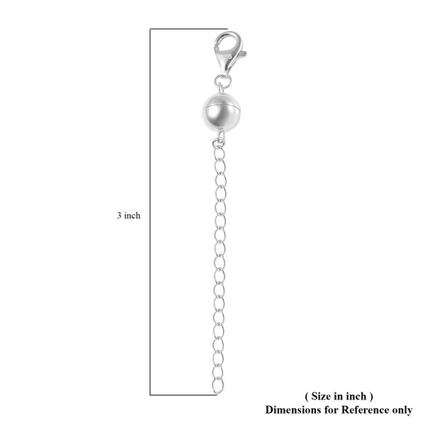 Rhodium Plated Sterling Silver Magnetic Ball Clasp with 2 Inch Extender