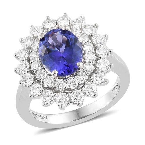 RHAPSODY 4.11 Ct AAAA Tanzanite and Diamond Double Halo Ring in 950 Platinum 8.99 Grams