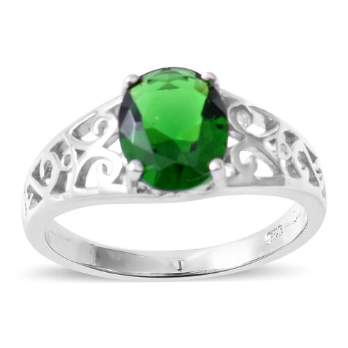 ELANZA Simulated Emerald (Ovl) Ring in Rhodium Overlay Sterling Silver