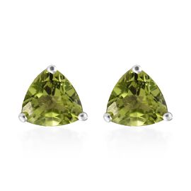 Hebei Peridot (Trl) Stud Earrings (with Push Back) in Platinum Overlay Sterling Silver 2.500 Ct.