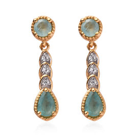 1.25 Ct Grandidierite and Cambodian Zircon Dangle Earrings in Gold Plated Sterling Silver