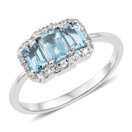 1.50 Ct AA Santa Maria Aquamarine and Natural Cambodian Zircon Ring in 9K White Gold