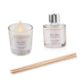 2 Piece Set - Scented Candle and Reed Diffuser with 6 Bamboo Reed - 50 ML (Tea Tree Fragrance)