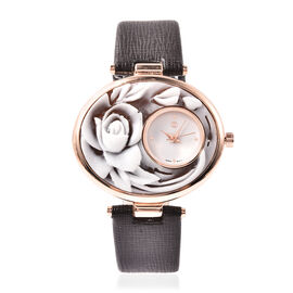 STRADA Japanese Movement Rose Carved Dial Rose Tone Watch with Dark Brown Strap