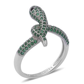 ELANZA Simulated Peridot and Simulated Black Spinel Serpent Ring in Rhodium Overlay Sterling Silver