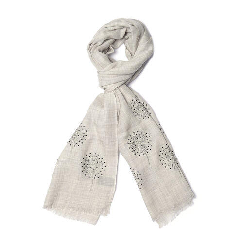 New Zealand Super Fine Merino Wool and Silk Grey Colour Scarf Hand Stitched Sequin Work (Size 200x70 Cm)