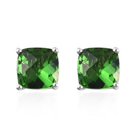 AA Helenite Stud Earrings (with Push Back) in Platinum Overlay Sterling Silver 3.50 Ct.