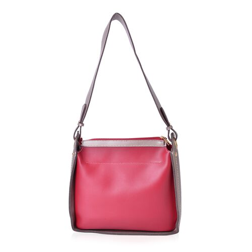 Red and Light Grey Colour Cutout Pattern Shoulder Bag (Size 28X28X10 Cm)