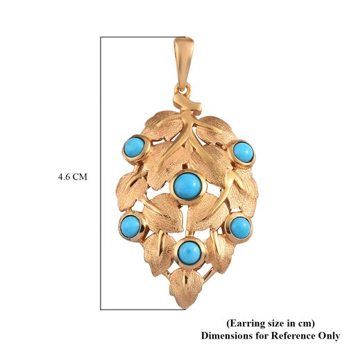 Arizona Sleeping Beauty Turquoise Leaf Design Pendant in 14K Gold Overlay Sterling Silver 1.00 Ct.