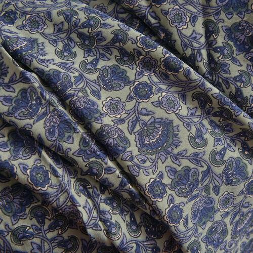 Green, Blue Colour Floral Pattern Top (Size 80x70 Cm)