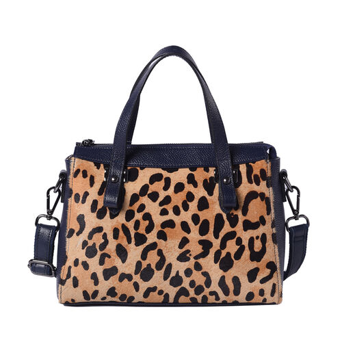 100% Genuine Leather Leopard Pattern Tote Bag (28x12x20cm) with Adjustable Shoulder Strap - Navy and