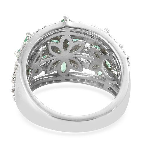 AA Kagem Zambian Emerald (Mrq), Natural Cambodian Zircon Ring in Platinum Overlay Sterling Silver 2.250 Ct.