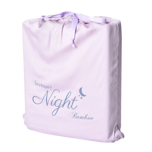 OTO - Serenity Night 4 Piece Set - 100% Bamboo Sheet Set Inclds. 1 Flat Sheet (230x265cm), 1 Fitted Sheet (140x190+30cm) & 2 Pillowcases (50x75cm) in Lavender - DOUBLE