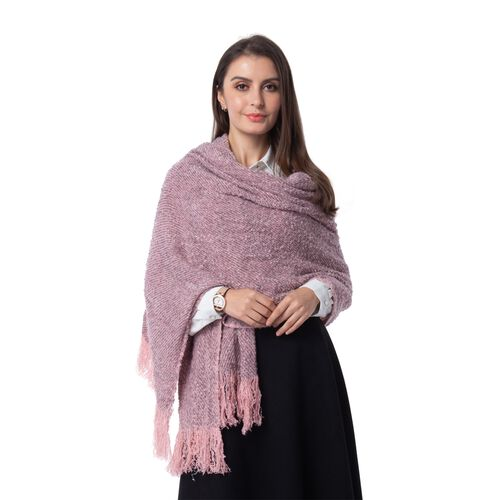 Designer Inspired -Pink and Grey Colour Blanket Scarf (Size 200x64 Cm)