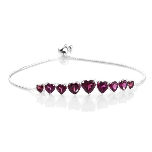 Rhodolite Garnet (Hrt) Pendant, Adjustable Bracelet (Size 6.5 to 9) and Lever Back Earrings in Sterling Silver 10.250 Ct.