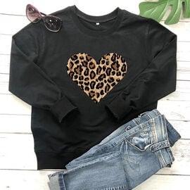 Kris Ana Leopard Heart Sweatshirt - Black