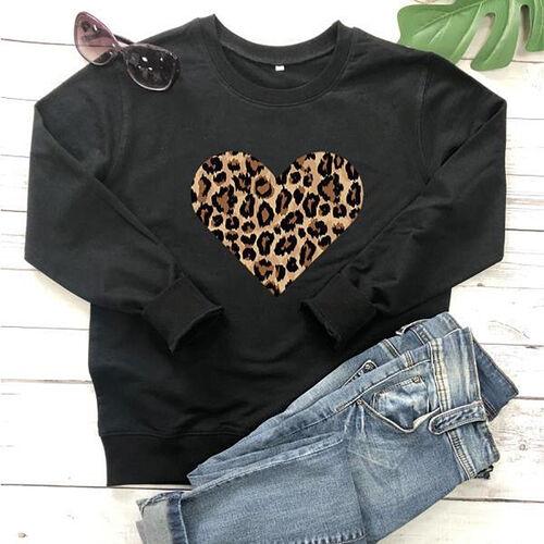 Kris Ana Leopard Heart Sweatshirt (Size XL/ 14-16) - Black