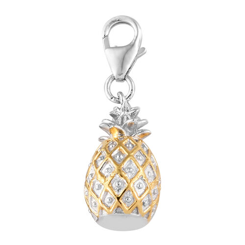 Platinum and Yellow Gold Overlay Sterling Silver Pineapple Charm