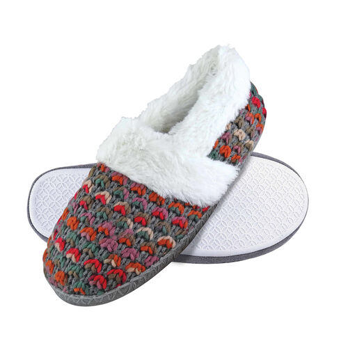 Dunlop Fluffy Knitted Full Slippers (Size 4) - Brown