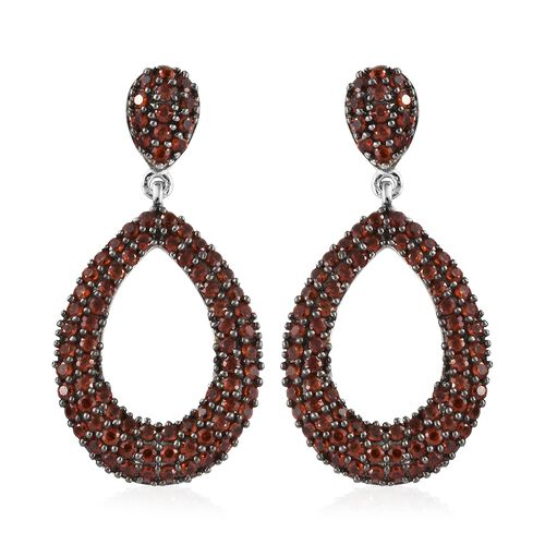 Mozambique Garnet (Rnd) Drop Earrings (with Push Back) in Platinum Overlay Sterling Silver 3.000 Ct, Number of Gemstone- 166.