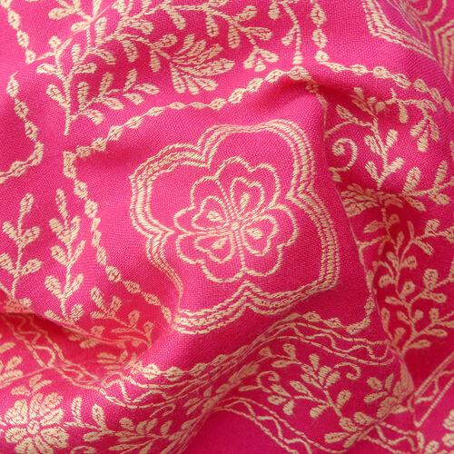 Jacquard Pattern Fuschia and Beige Scarf (Size 70x200 Cm)