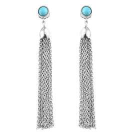 Arizona Sleeping Beauty Turquoise (Rnd) Earrings (with Push Back) in Platinum Overlay Sterling Silver 1.000 Ct